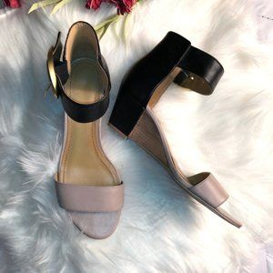 Nine West Two Tone Ankle Buckle Wedges - 7.5